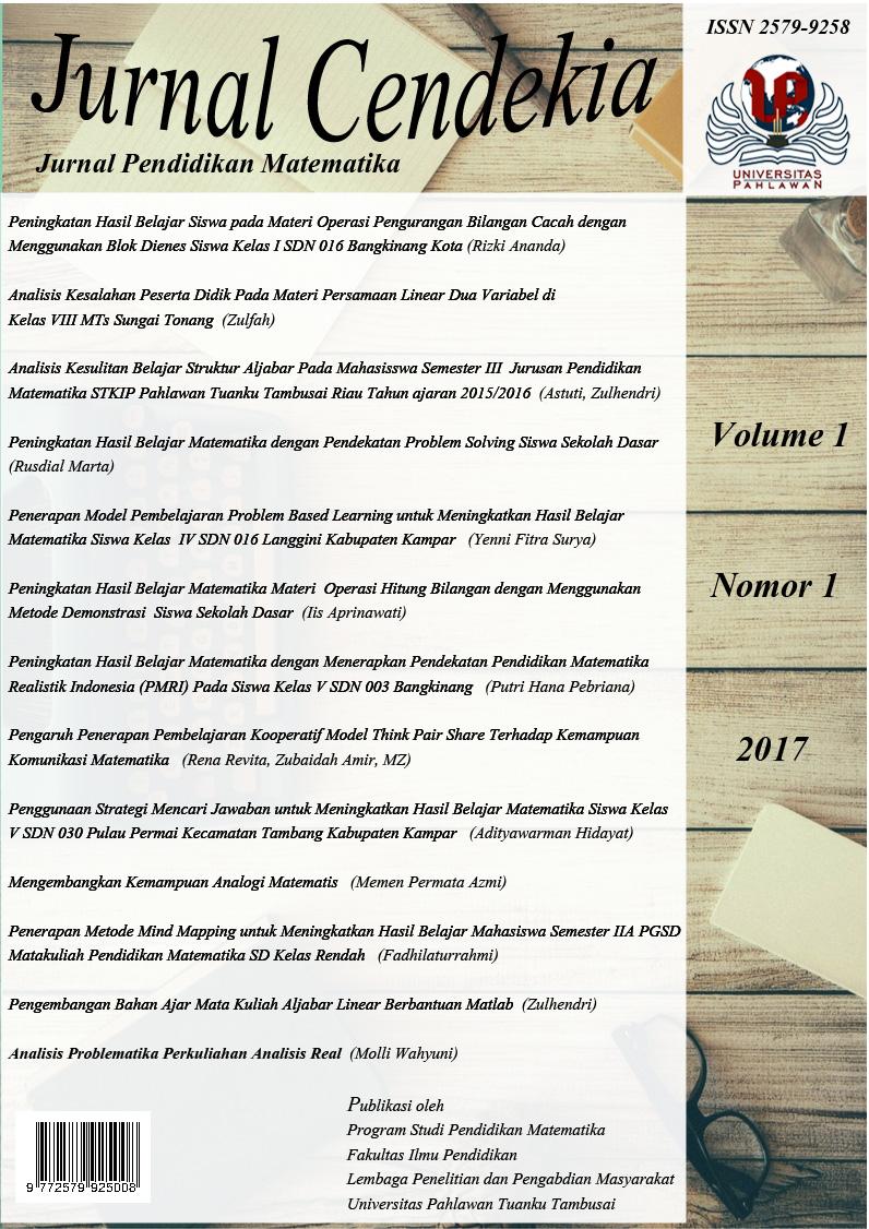 Jurnal Cendekia: Jurnal Pendidikan Matematika Volume 1 Nomor 1